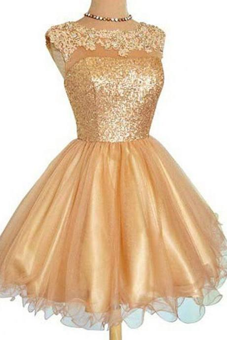 Golden Tulle Homecoming Dresses Sleeveless A-Line/Column Bateau Zipper-Up Mini Appliqued