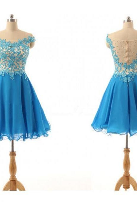 Blue Homecoming Dresses Sleeveless A lines Off Shoulder Zipper-Up Above-Knee Flowers